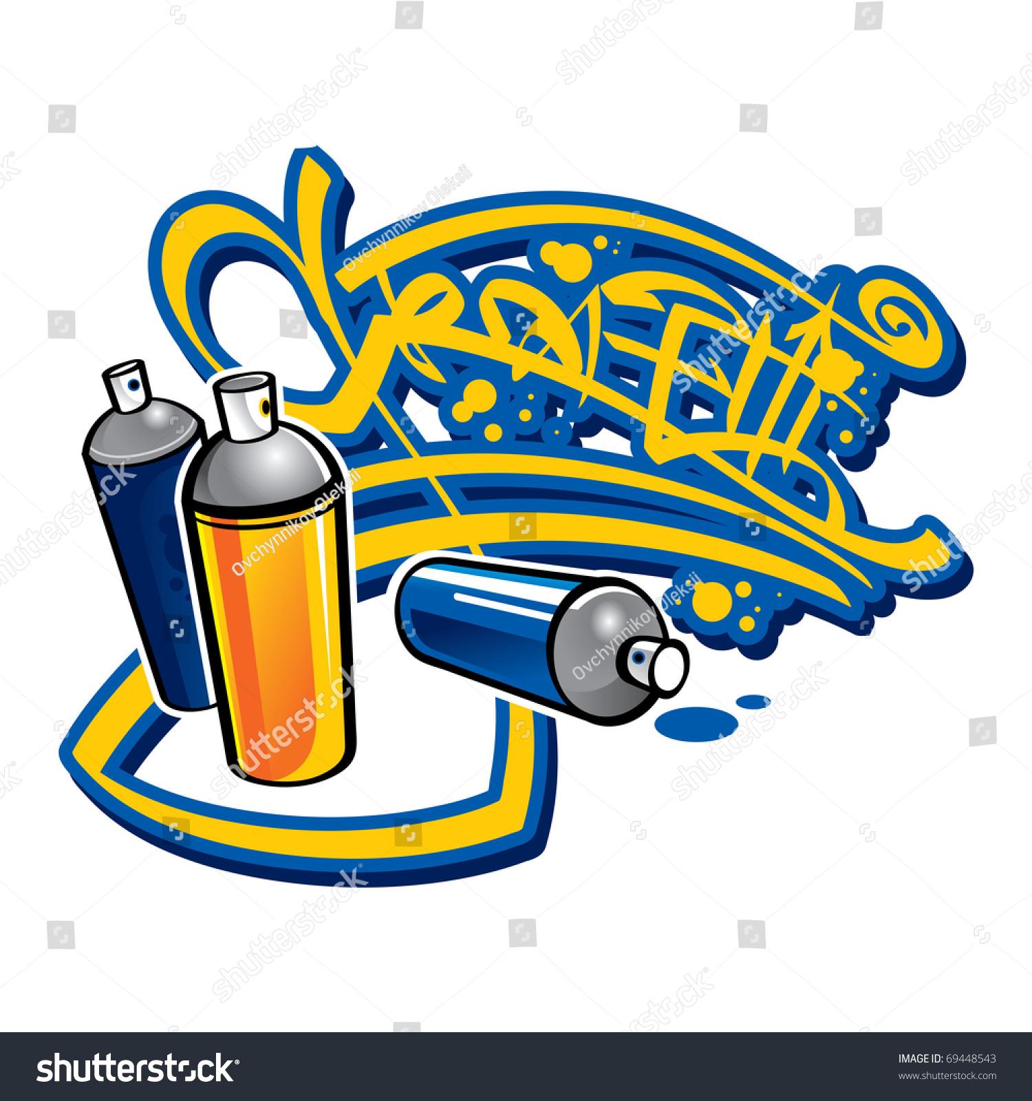 Graffiti Spray Cans Brick Wall Street Paint Stock Vector Illustration 69448543 Shutterstock
