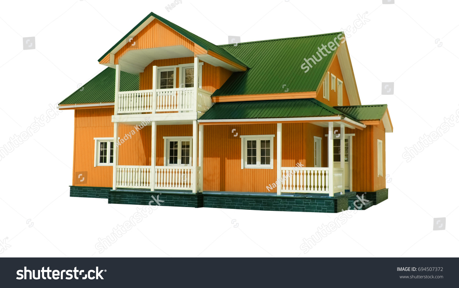 Traditional American Wooden Orange House Green Stock Illustration 694507372