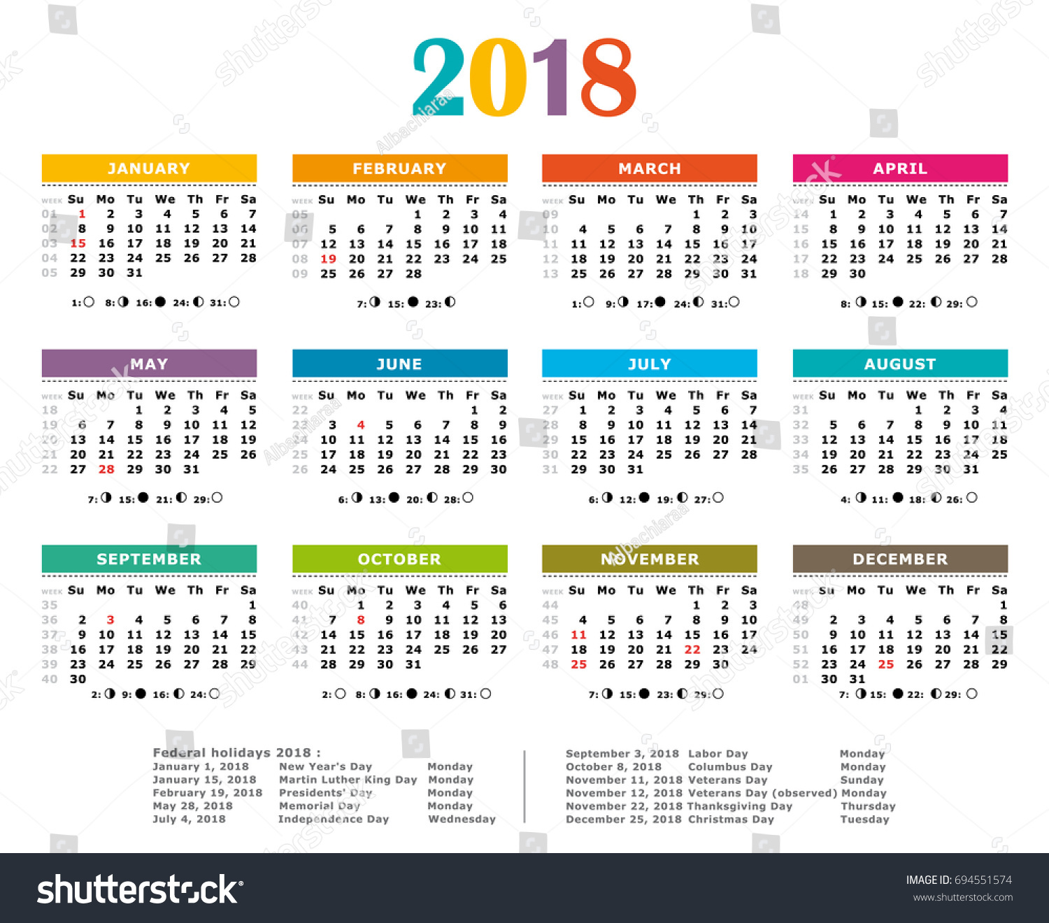 2018 Multicolored American Vector Calendar Full Year Stock Photo