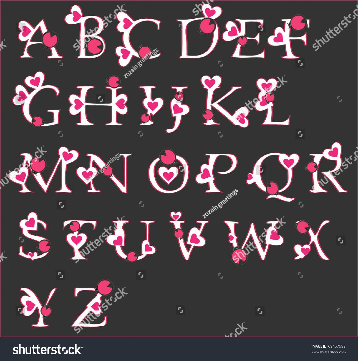 Decorative Letters Decorative Letters Hearts Stock Vector 69457999 Shutterstock