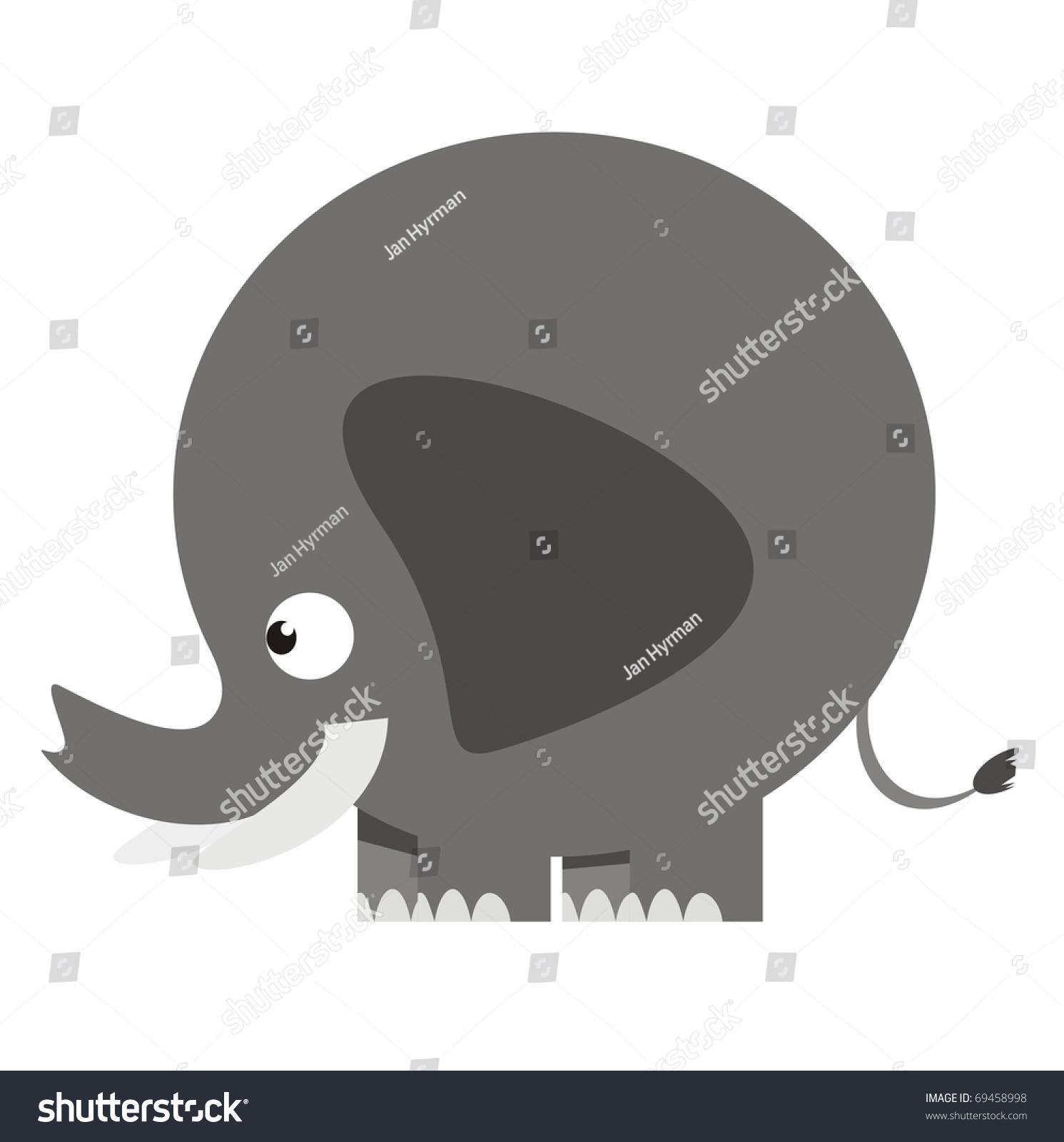 African Elephant African Wildlife Color Raster Stock Illustration ...