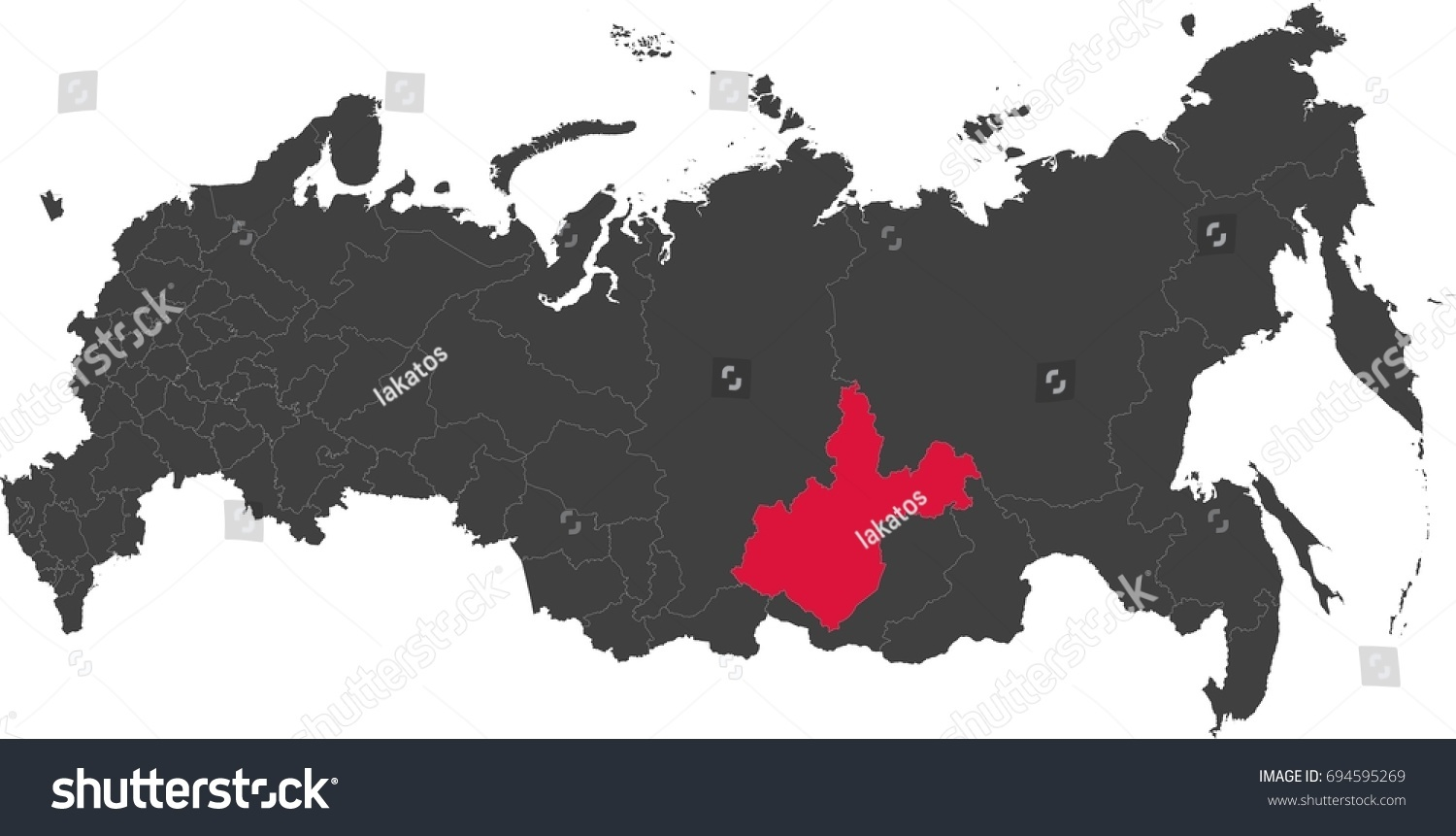 Map Russia Split Into Individual States Stock Vector 694595269