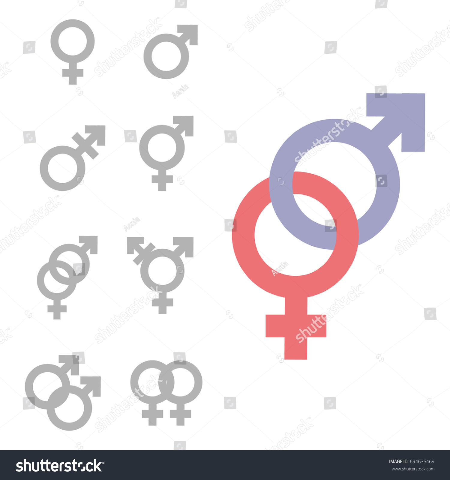 Gender Symbol Set Male Female Girl Stock Illustration Royalty Free