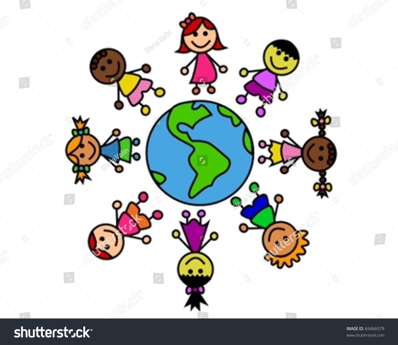 Kids Around World Stock Vector 69466579 - Shutterstock