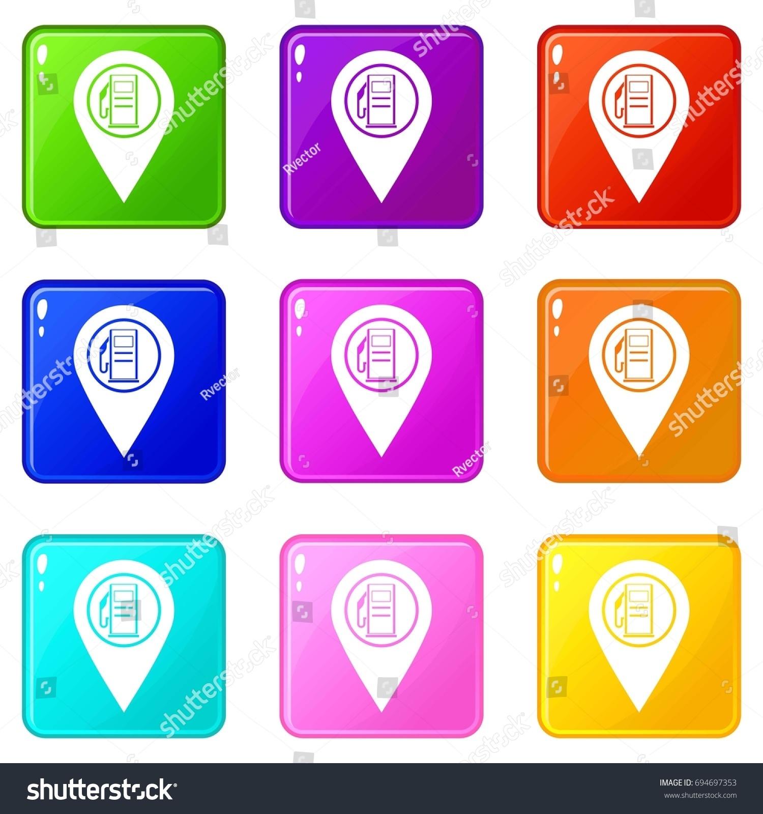Map Pointer Gas Station Symbol Icons Stock Illustration 694697353