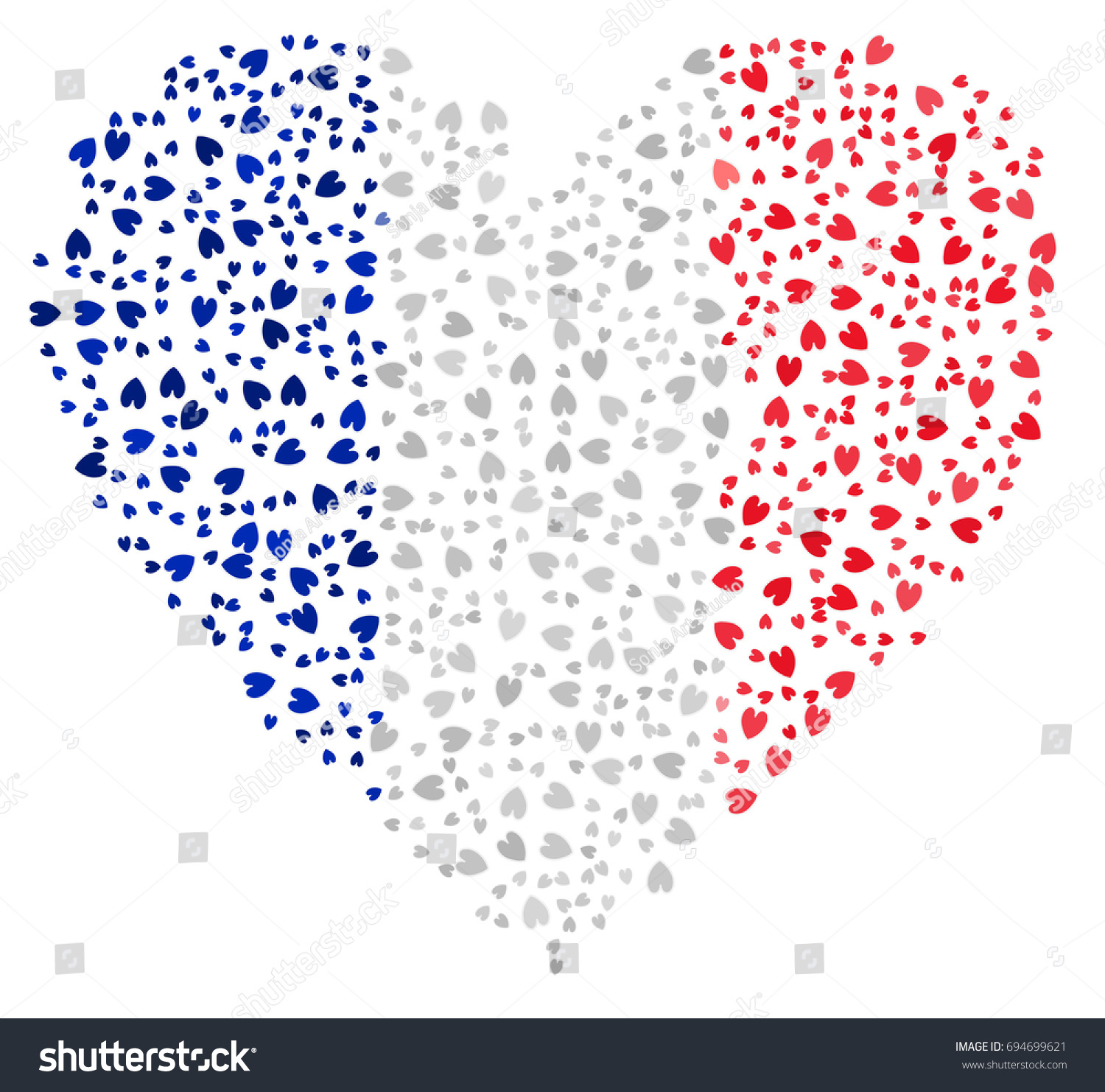 Heart Shaped Abstract French Flag Flag Stock Vector Royalty Free