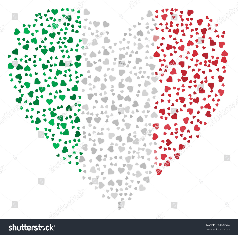 Heart Shaped Abstract Italian Flag Flag Stock Vector Royalty Free