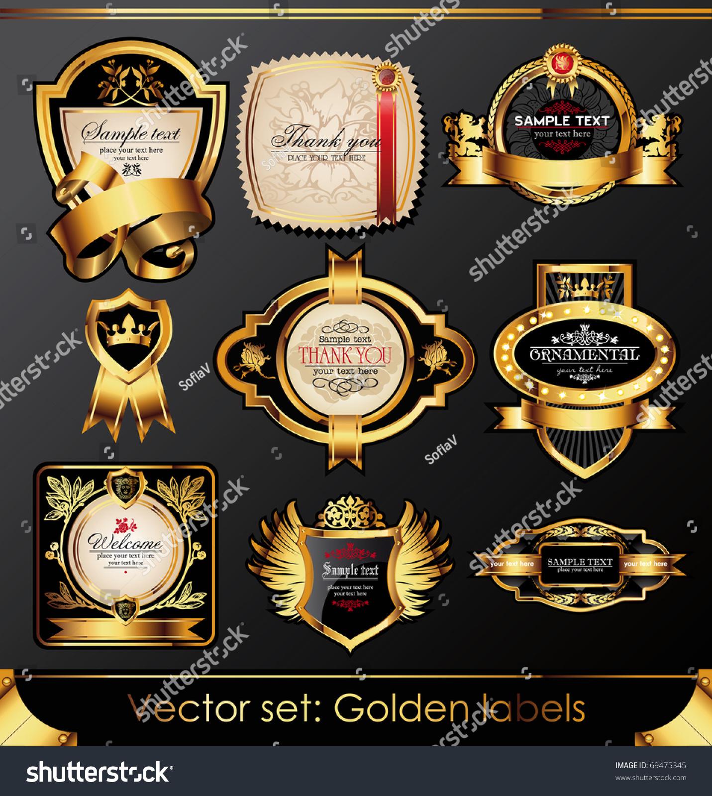 a8b20011b30 Vector Set Beautiful Black Goldframed Labels Stock Vector (Royalty ...