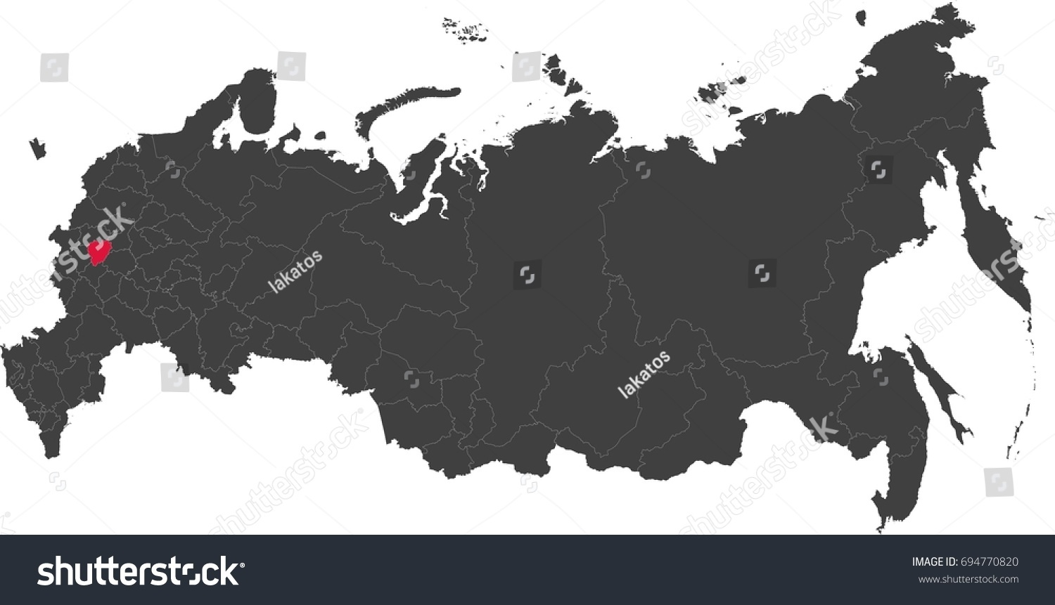 Map Russia Split Into Individual States Stock Vector 694770820