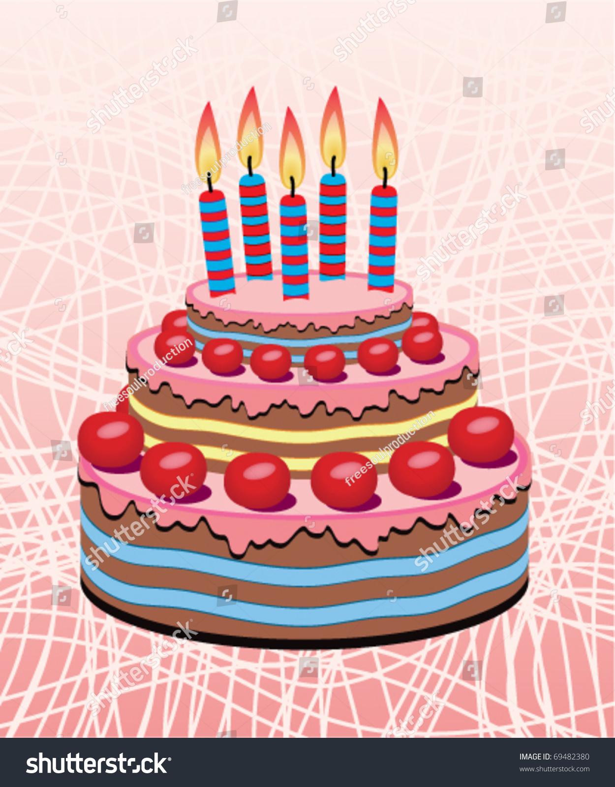 Vector Birthday Cake Burning Candles Stock Vector 69482380