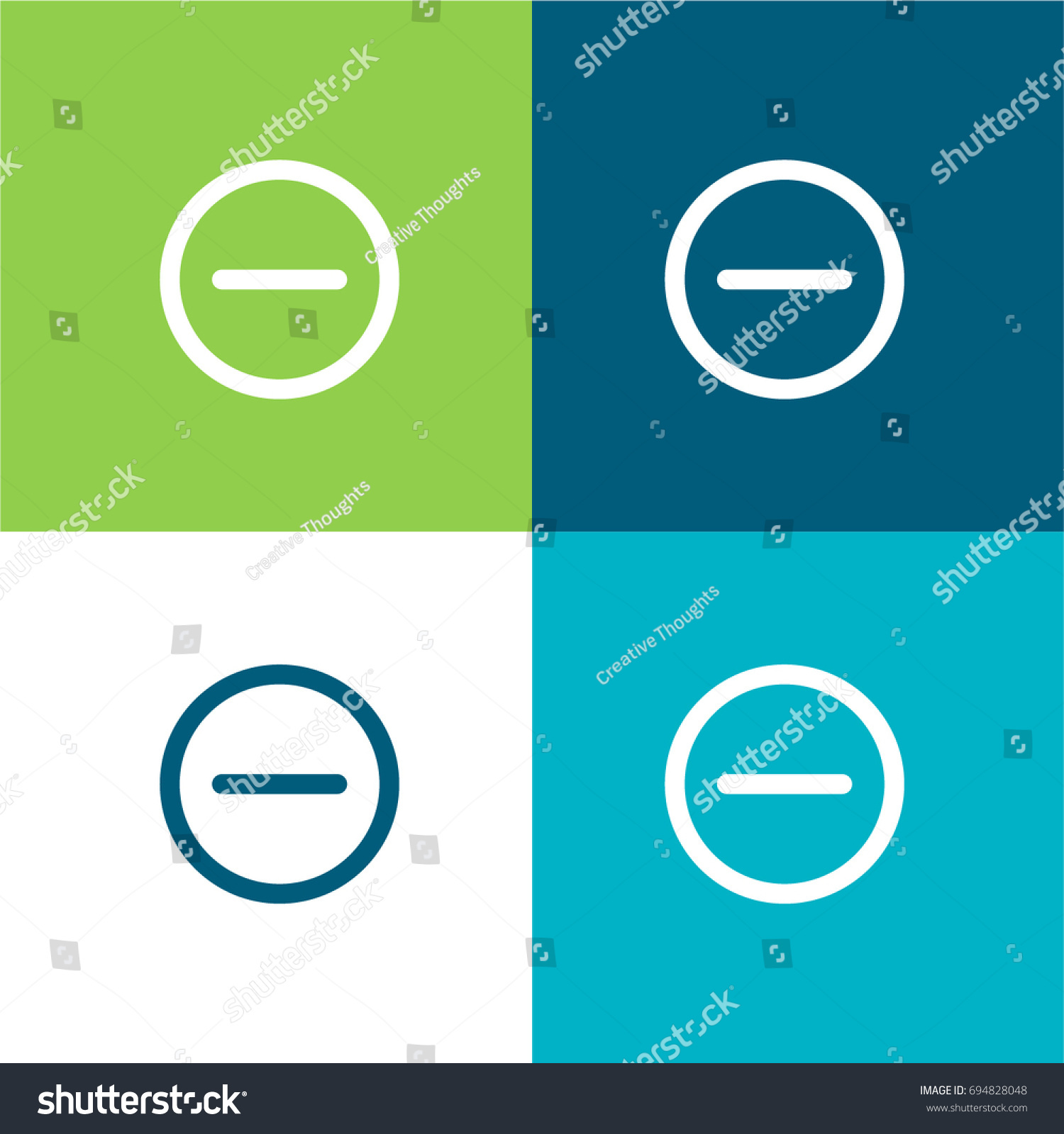 Subtracting Button Green Blue Material Color Stock Vector 694828048 ...