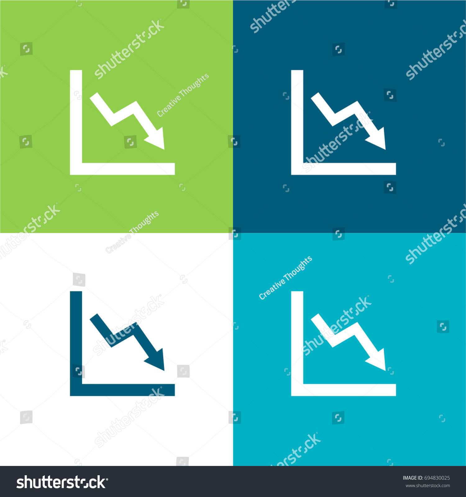Loss Chart Green Blue Material Color Stock Vector Royalty Free