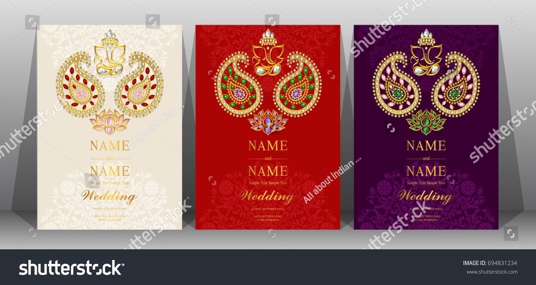 Wedding Invitation Card Templates Gold Paisley Stock Vector (2018 ...