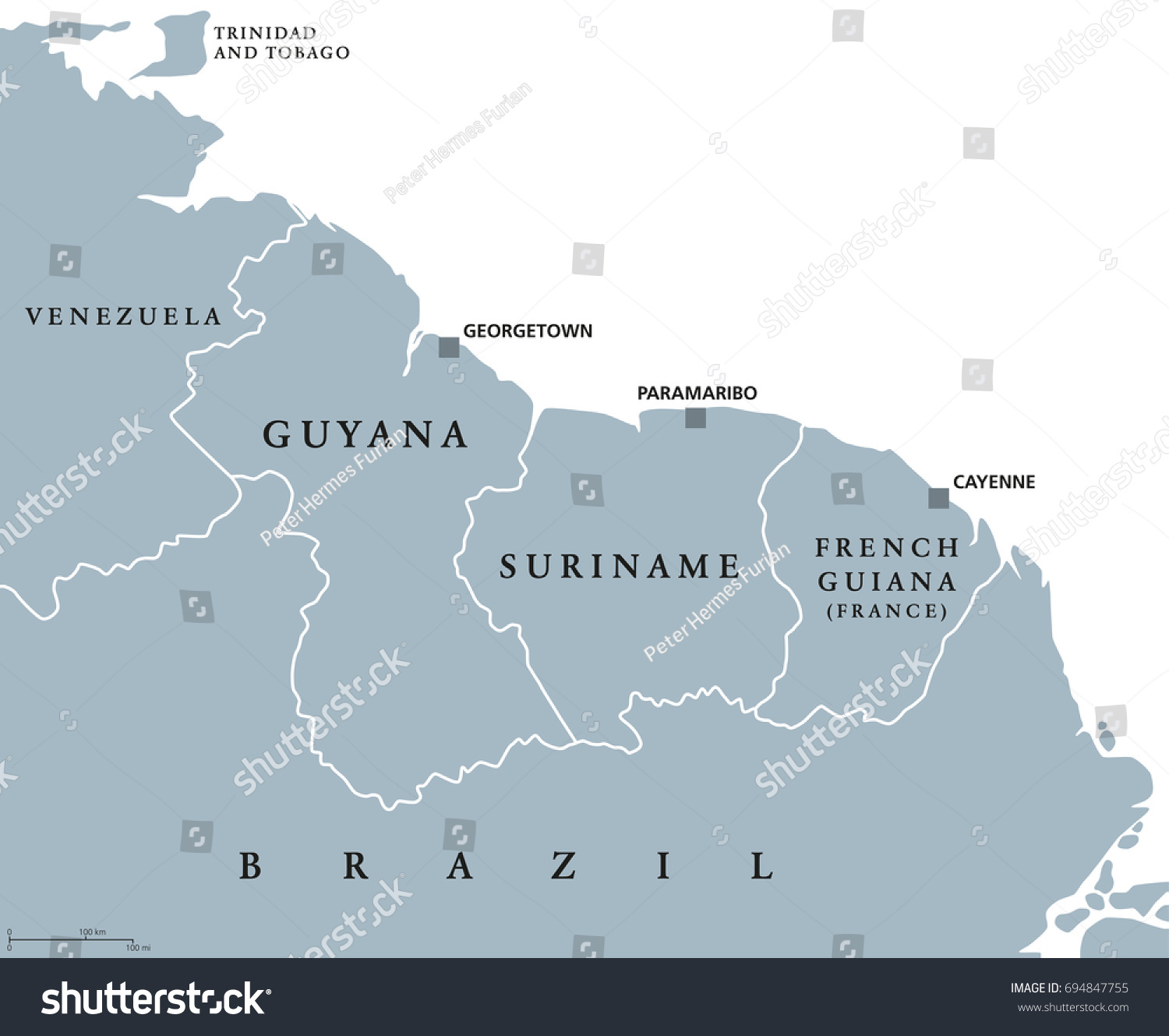 Guyana Suriname French Guiana Political Map Stock Vector - South america french guiana map