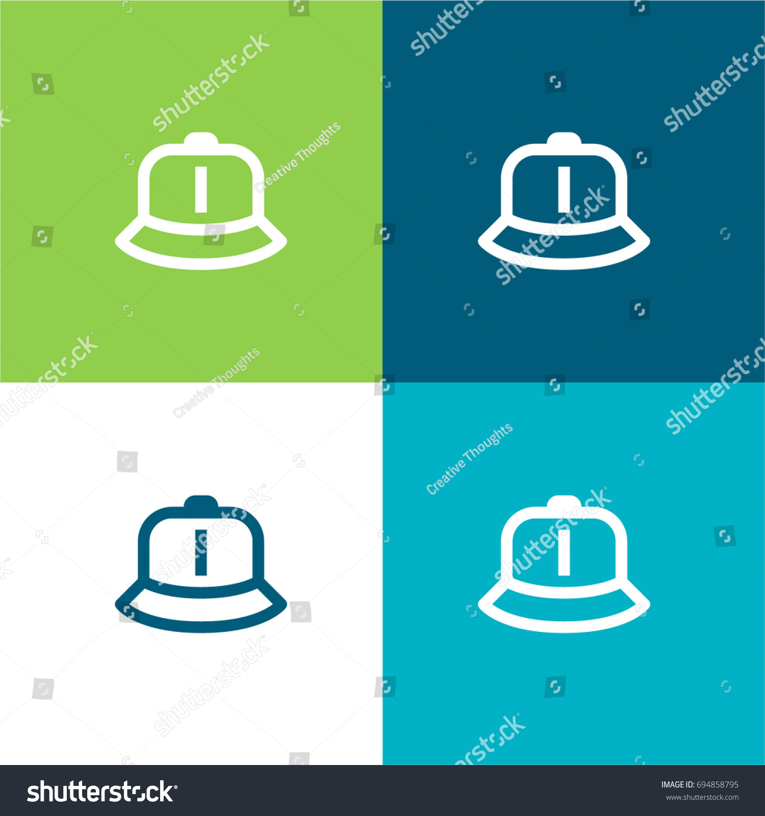 Hat Green Blue Material Color Minimal Stock Vector (Royalty