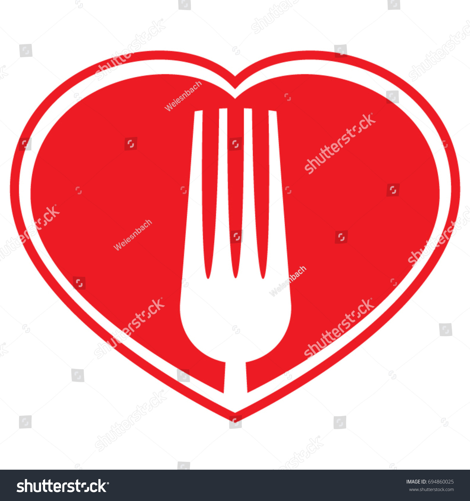 Vector symbol fork within heart promote stock vector 694860025 a vector symbol of a fork within a heart to promote healthy eating biocorpaavc Images