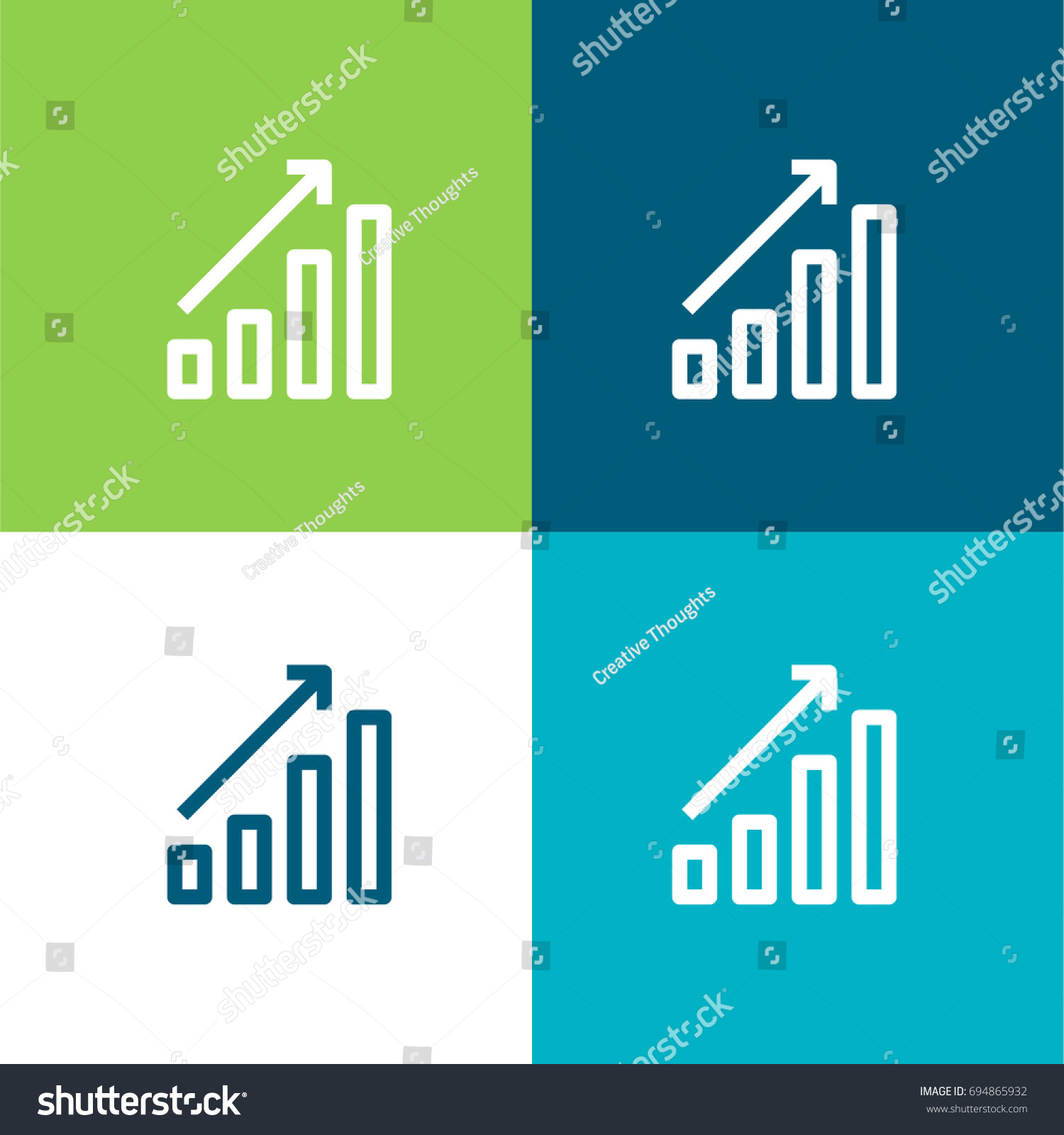 Bar Chart Green Blue Material Color Stock Vector Royalty Free
