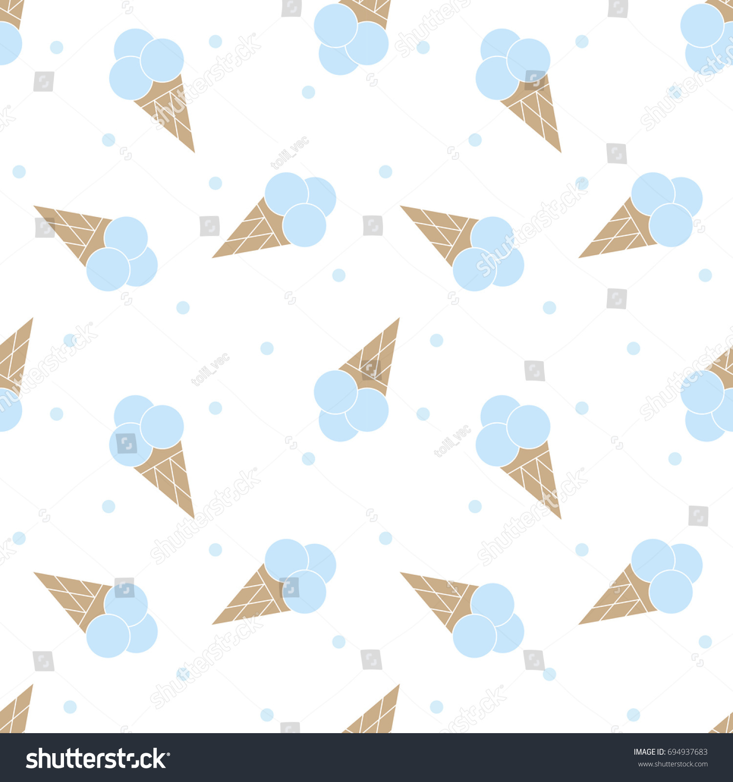 Seamless pattern with ice cream. Baby cartoon background. Good for birthday, wallpaper,