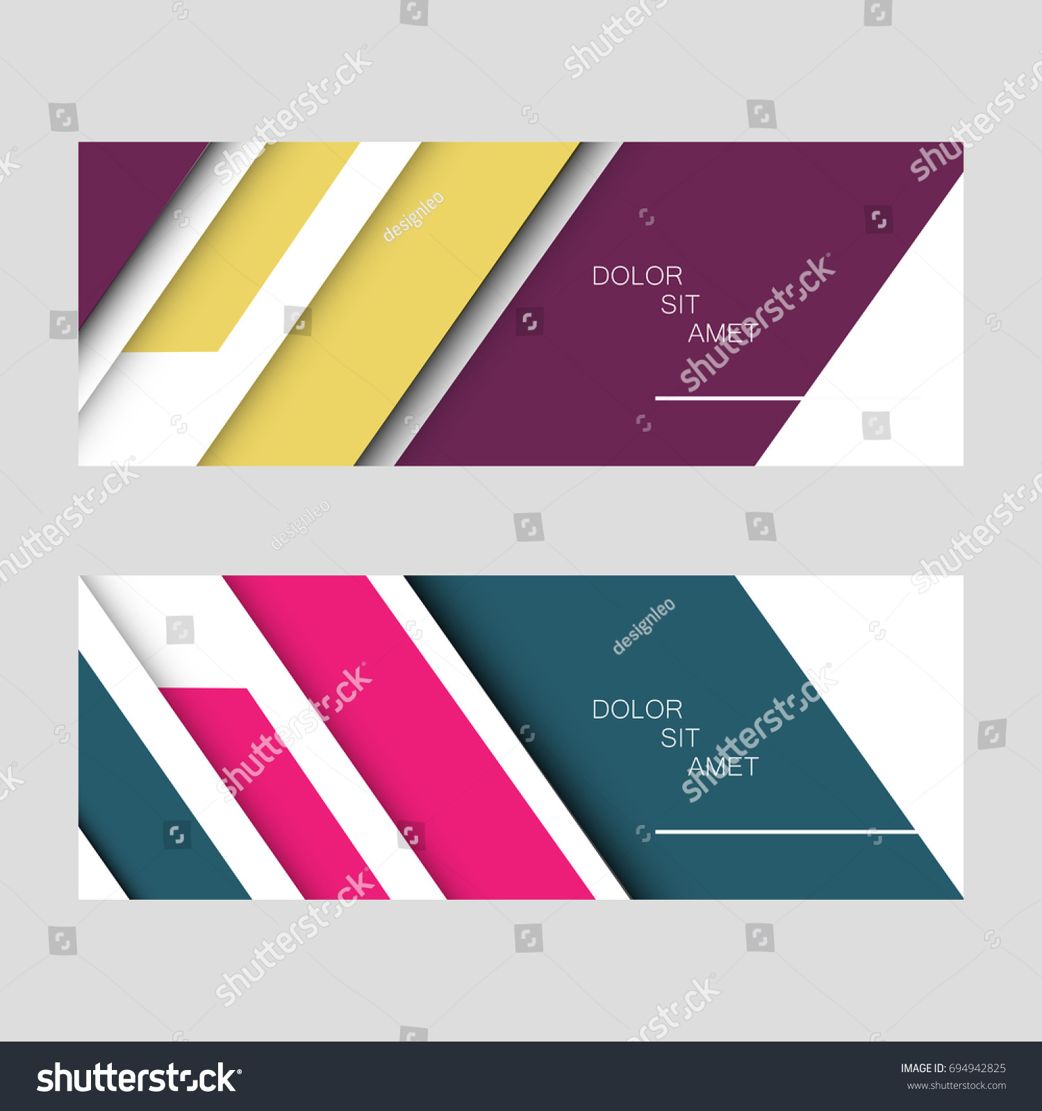 Design vector banner - Two Abstract Vector Banner Design With Modern Color Line Style