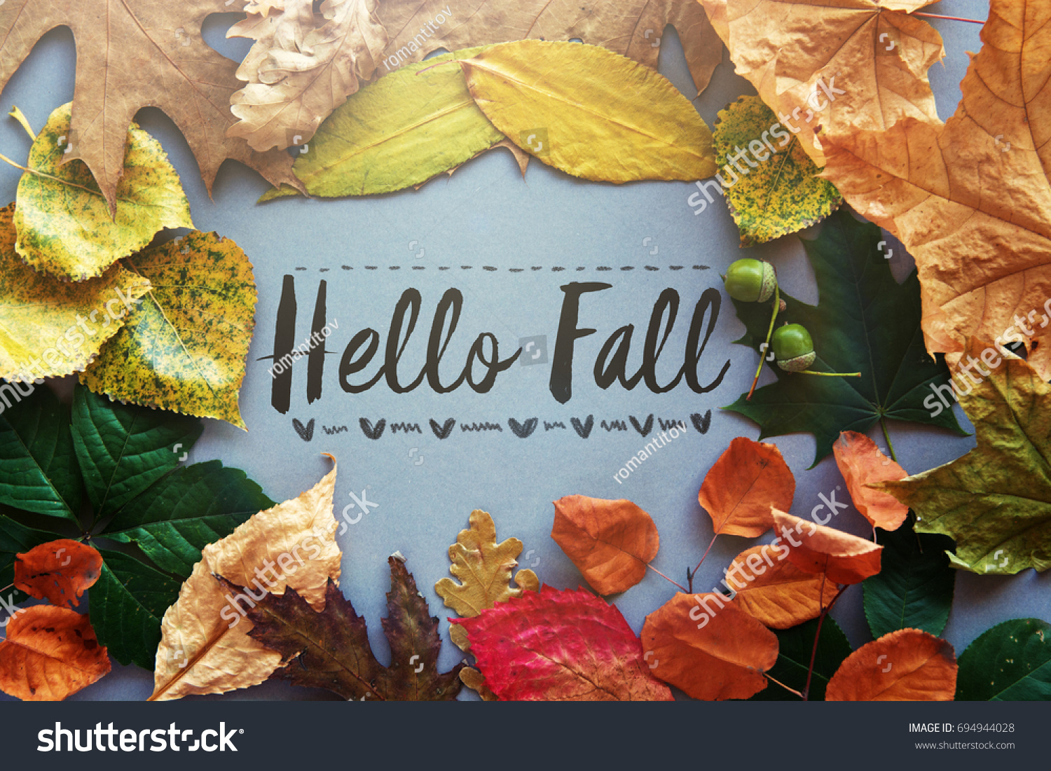 Great Hello Fall Card, Autumn Composition From Leaf. Vintage Forest Filter