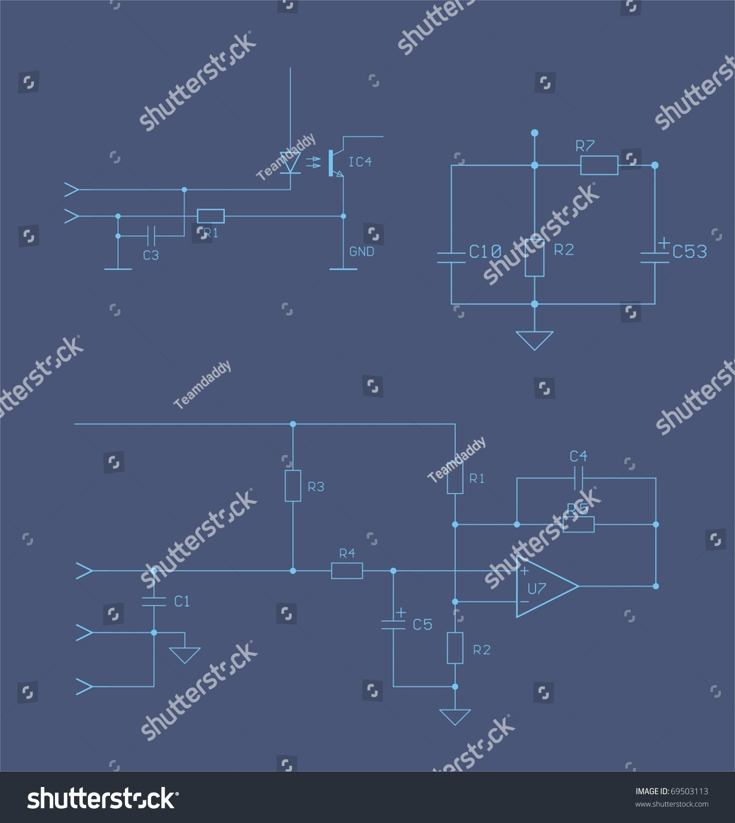 Electronic Schematic Blueprint Circuits Resistor Capacitors Stock ...