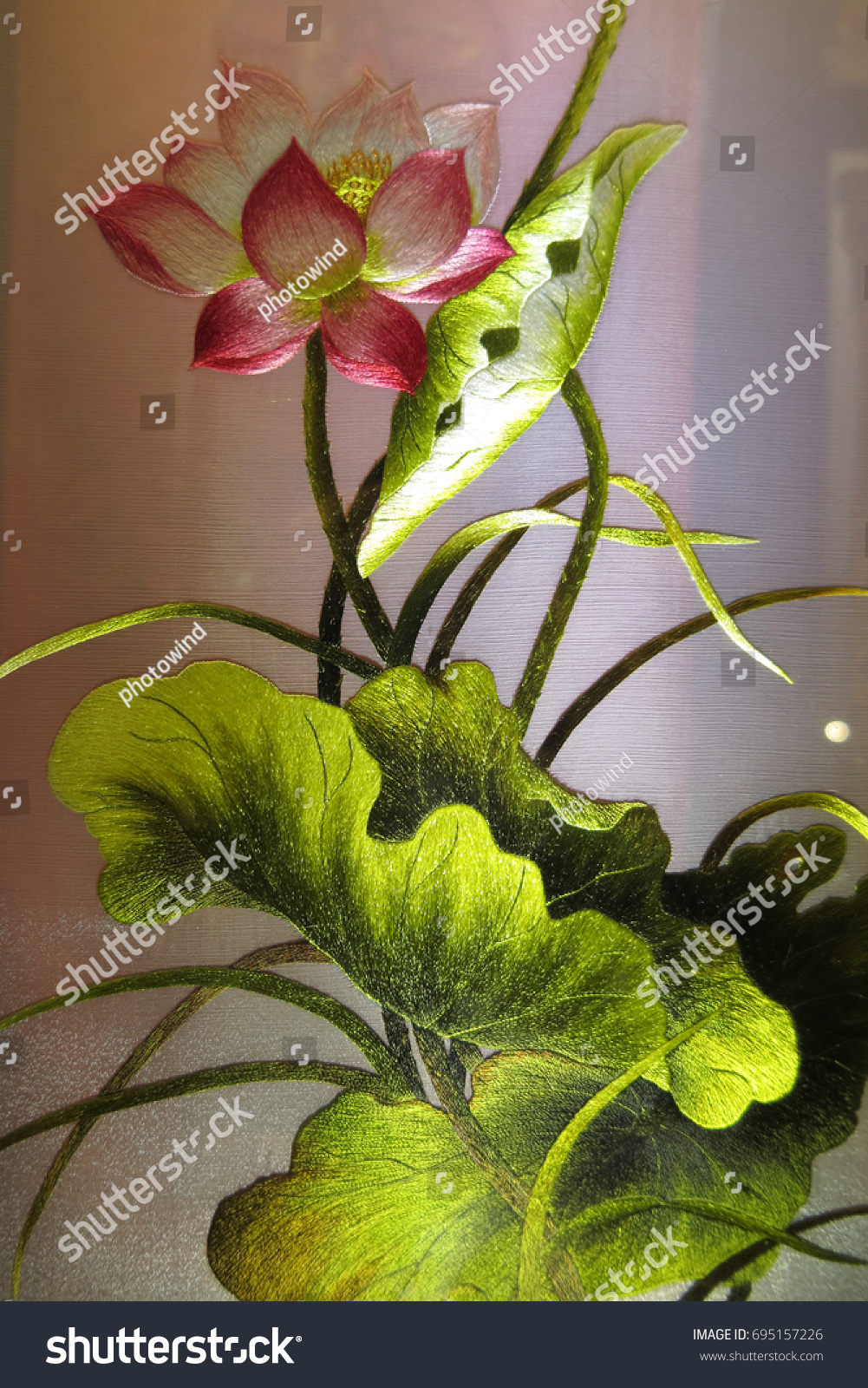 Vietnamese lotus flower silk embroidery main stock photo edit now vietnamese lotus flower silk embroidery as a main element of the traditional vietnamese embroidery pictures izmirmasajfo