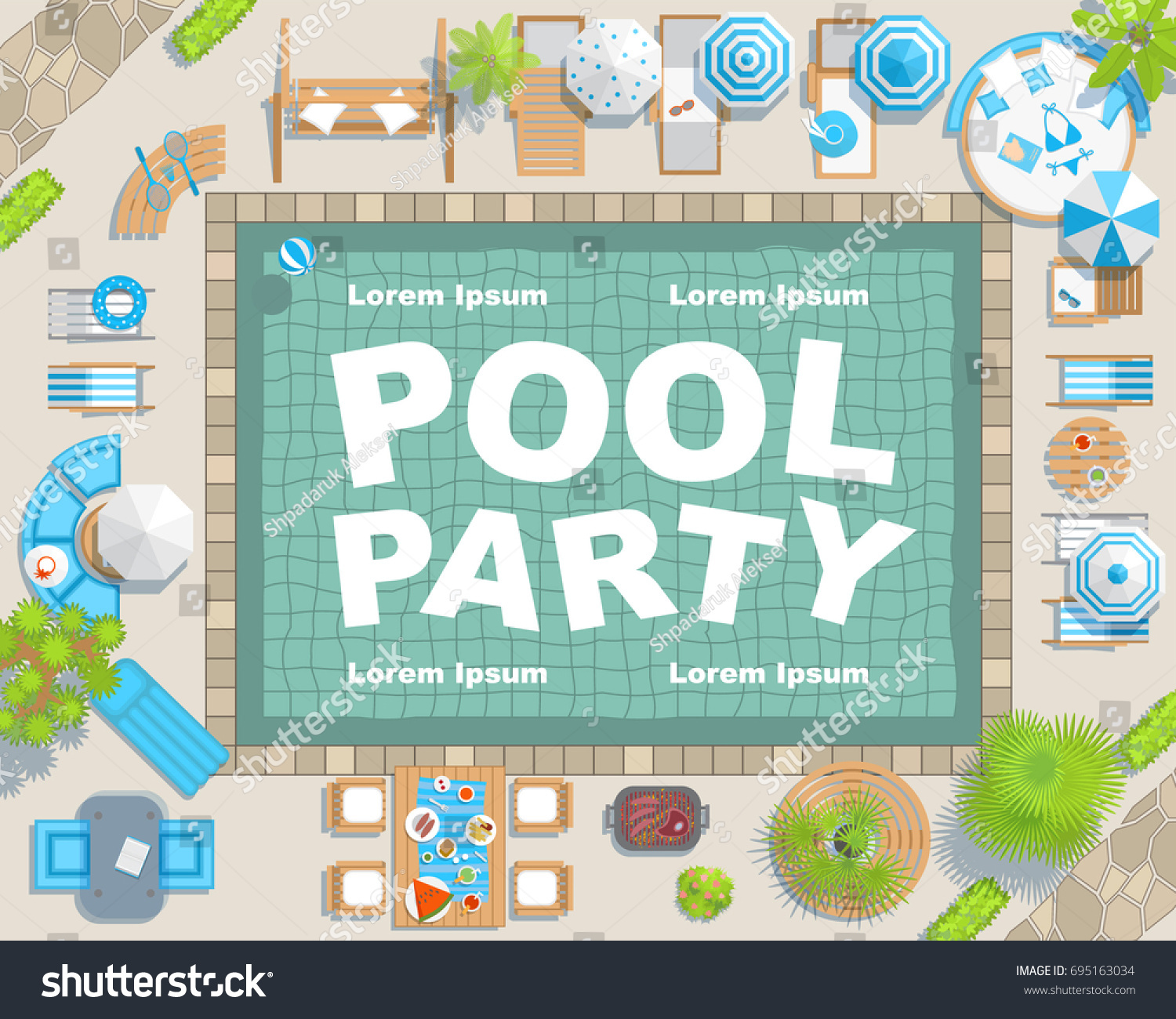 Vector Background Summer Pool Party Invitation Stock Vector ...