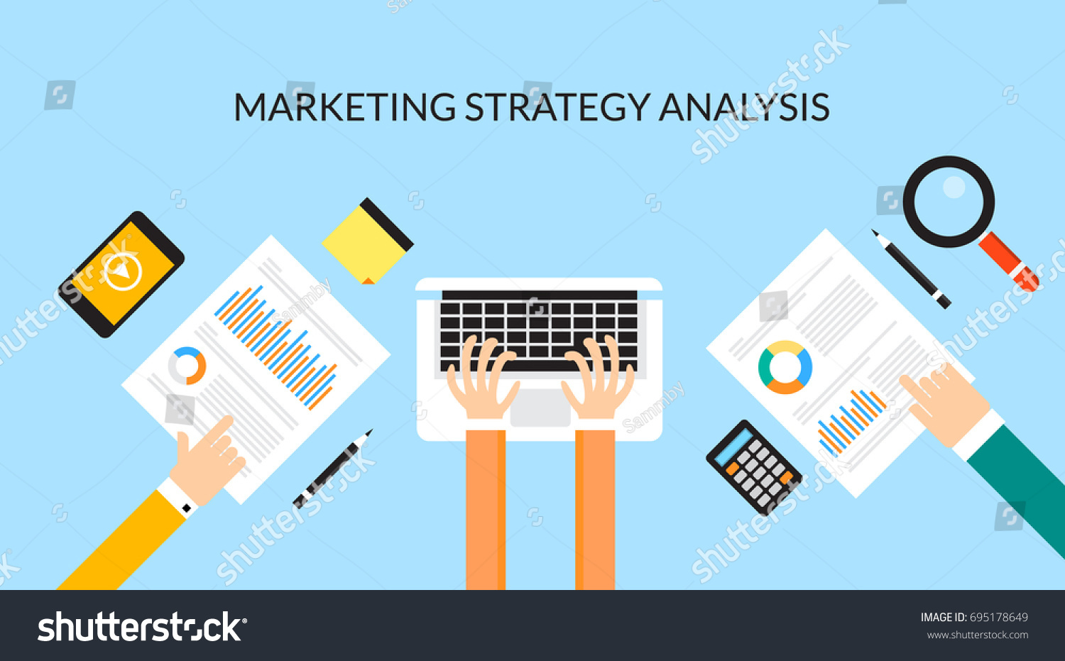 Marketing Vector Ilration Inter Business Process Abstract Banner In Flat Style