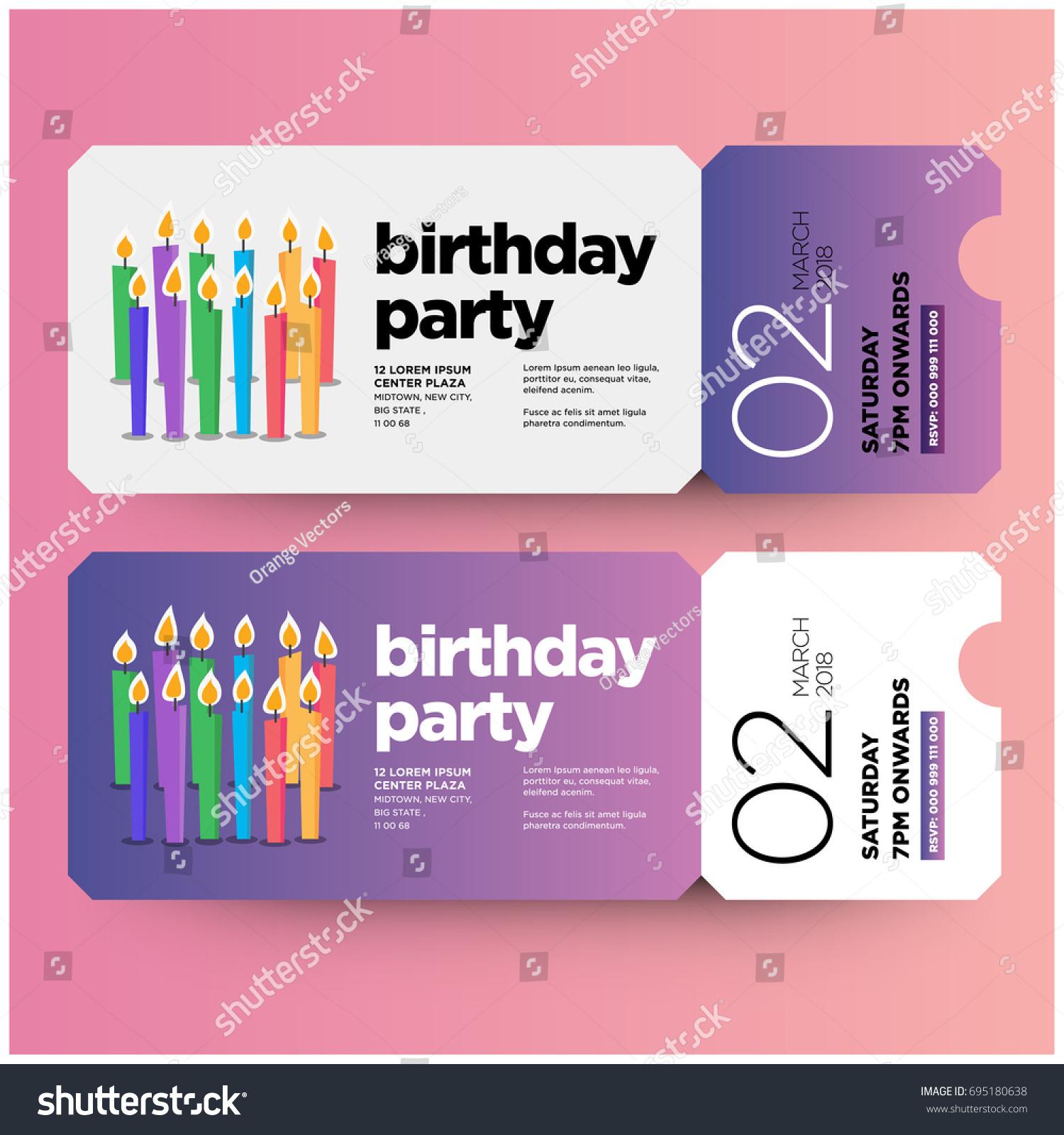 Happy 12 Th Birthday Party Invitation Ticket Stock Photo (Photo ...