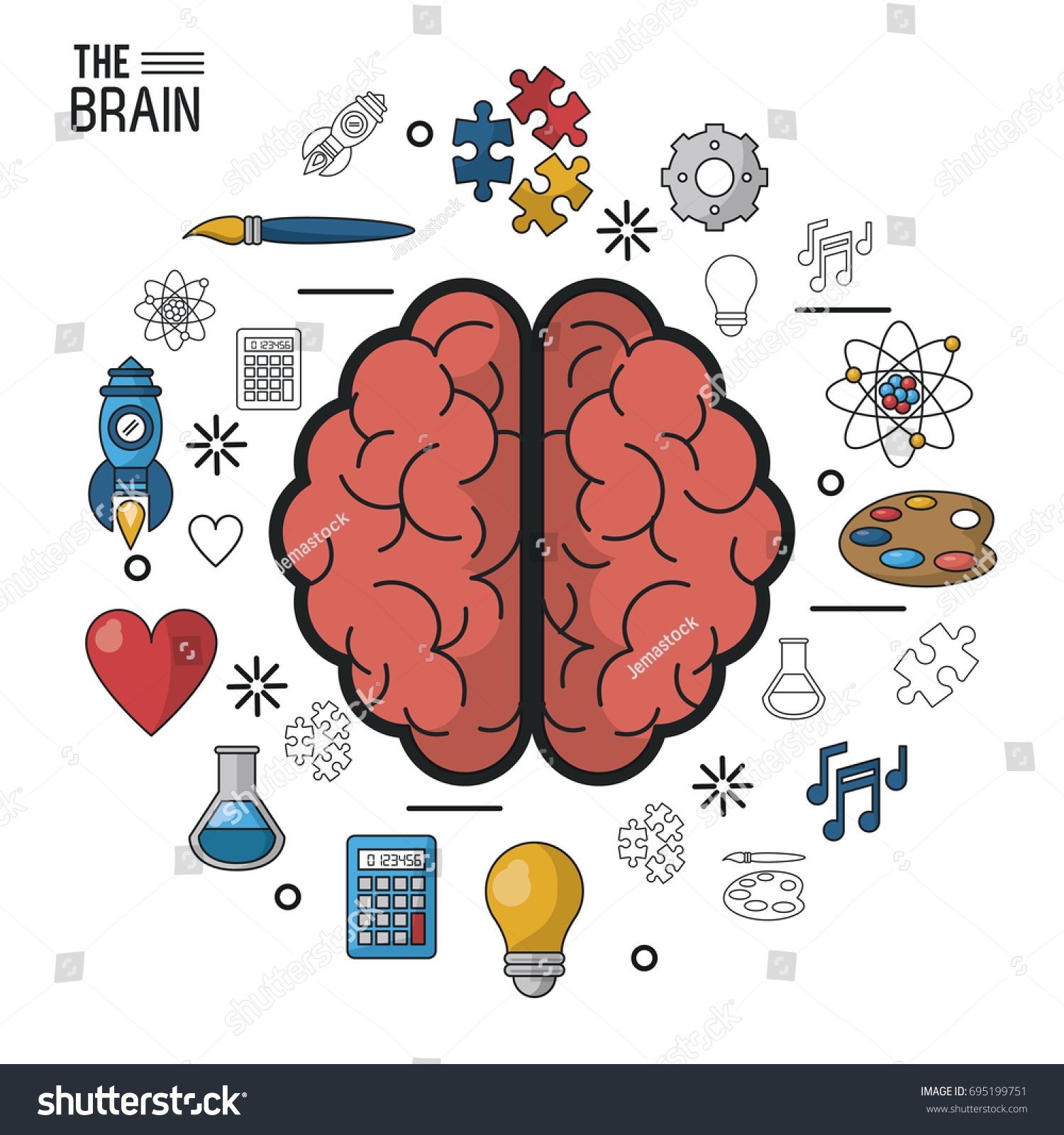Colorful poster brain top view two stock vector 695199751 shutterstock colorful poster the brain in top view of its two hemispheres and icons around ccuart Choice Image