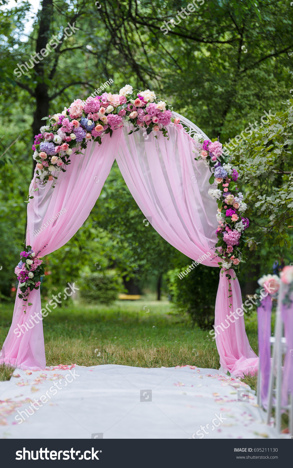 Pink Wedding Altar Arch Decoration Garden Stock Photo 695211130 ...