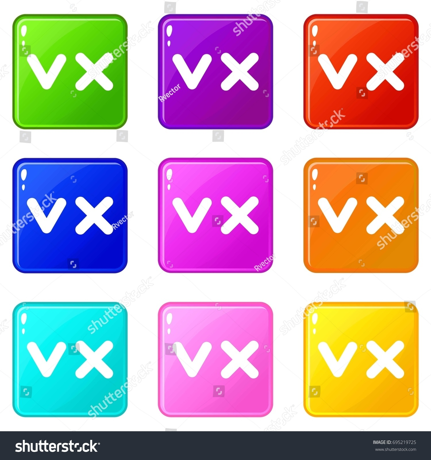 Fat Tick Cross Icons 9 Color Stock Illustration 695219725 Shutterstock