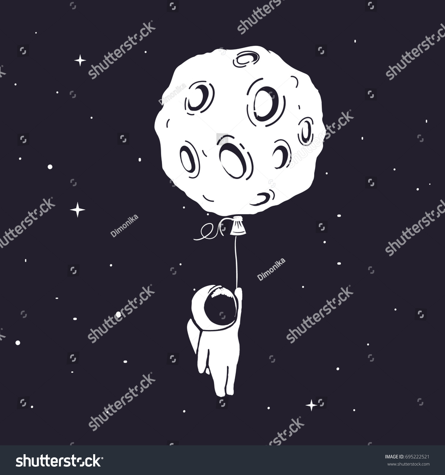 Little astronaut flies keeps moonwho like stock vector for Outer space poster design