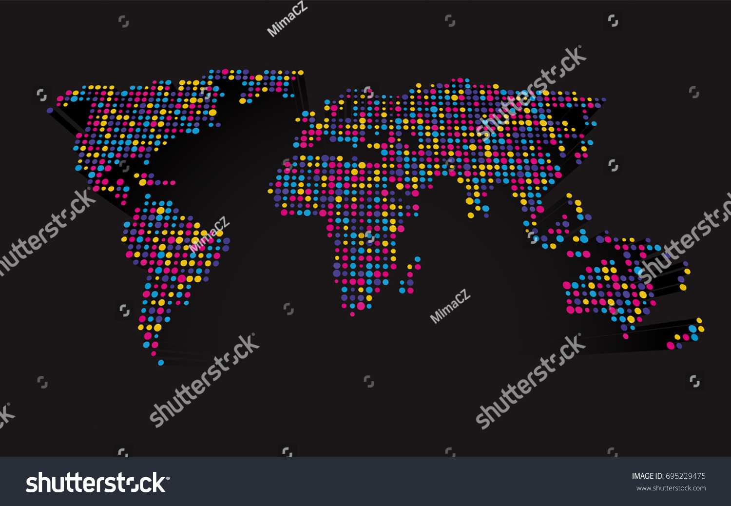 Abstract 3 d world map made small stock vector 695229475 shutterstock gumiabroncs Image collections