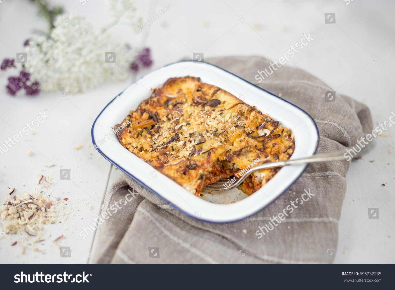 Delicious Moussaka Bake Fork Porcelain Plate Stock Photo (Edit Now