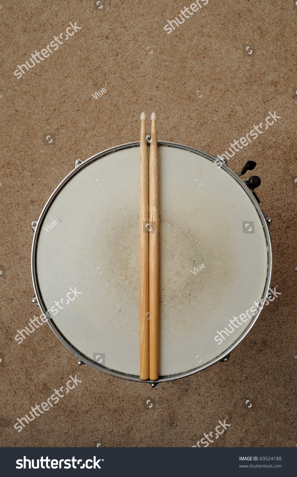 A Direct Overhead Above View Of A Snare Drum On A Stand ...