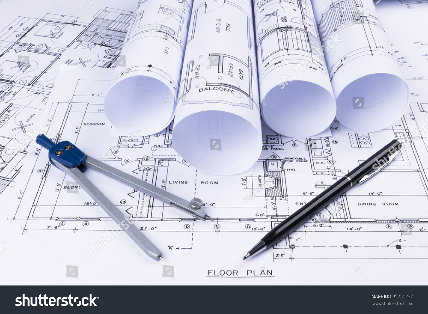 Architectural Blueprints Blueprint Rolls Drawing Instruments ...