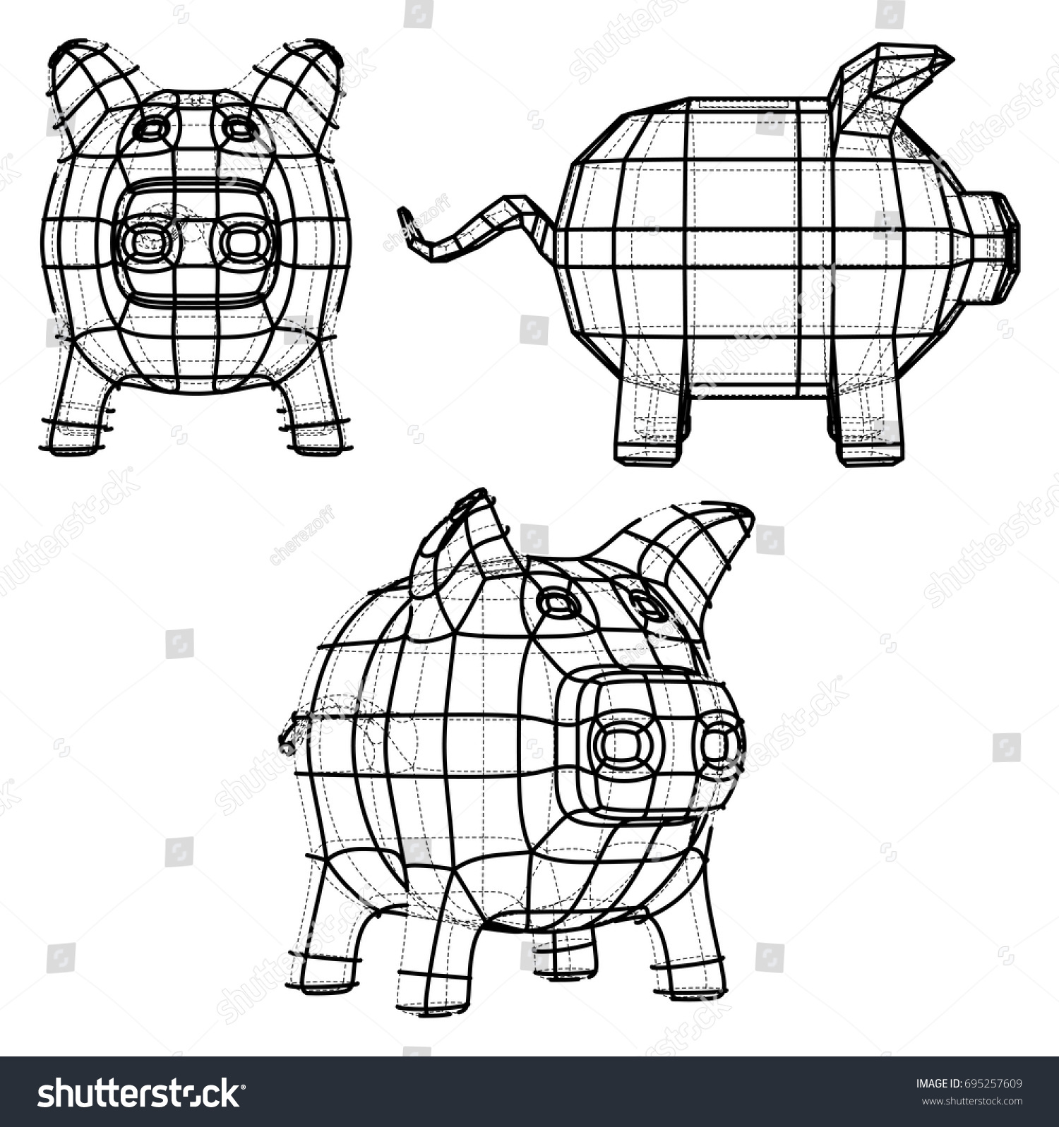 Business Concept Piggy Bank Wireframe Style Stock Vector (Royalty ...