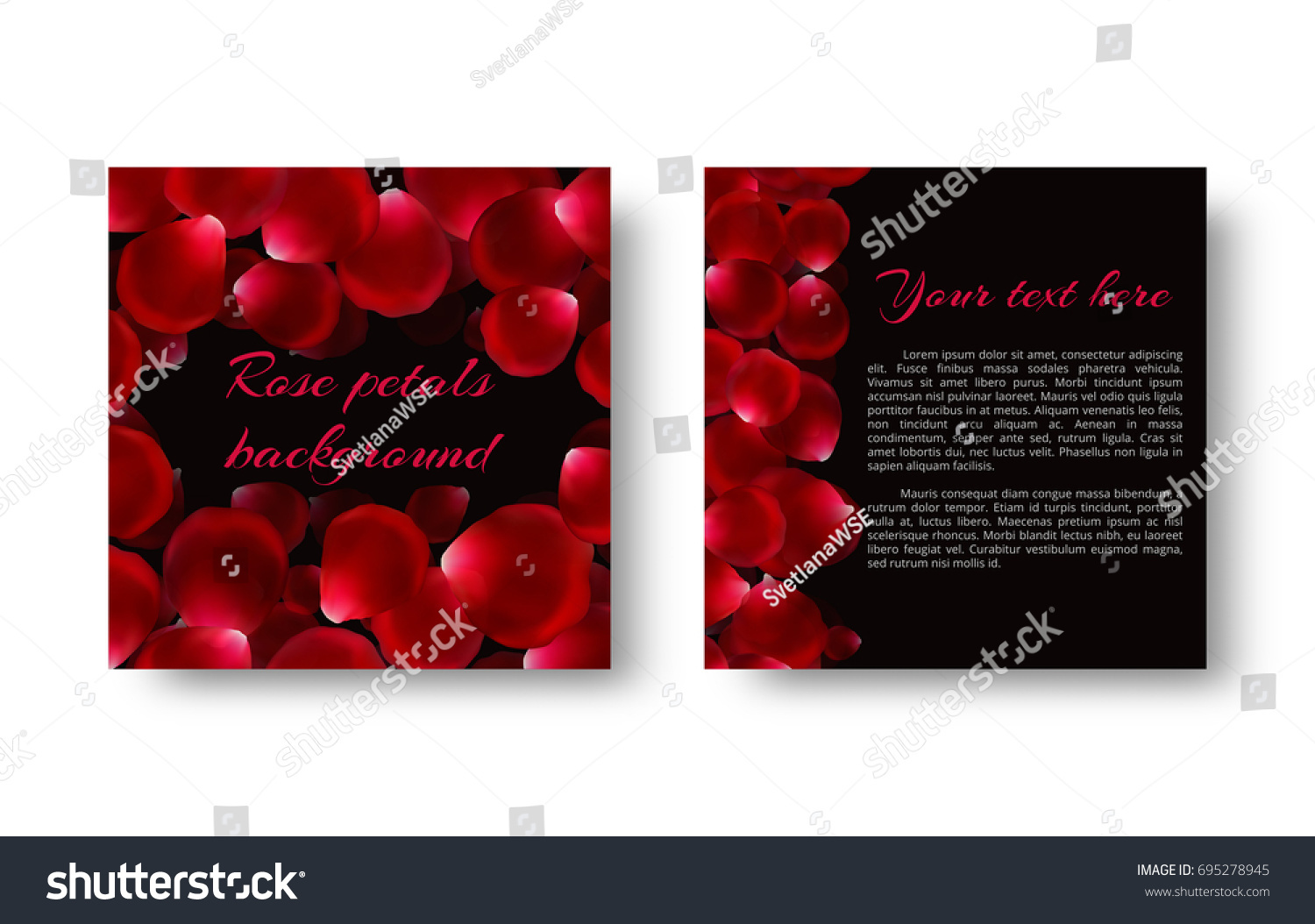 Background Red Rose Petals Romantic Greetings Stock Vector 695278945