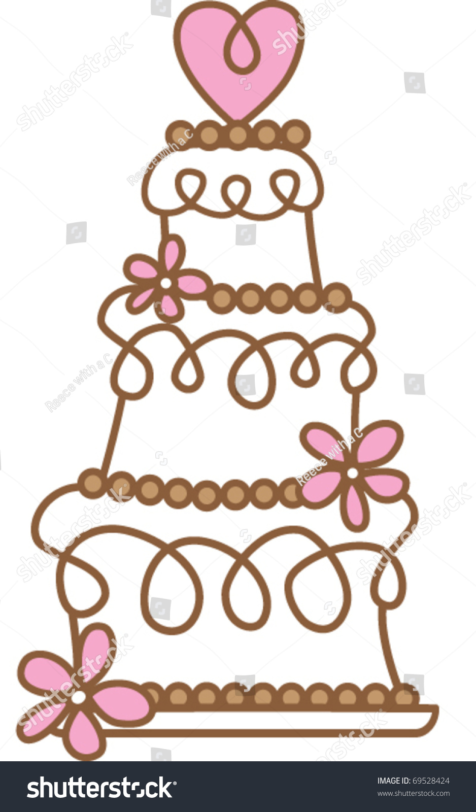 Retro Cake Clip Art : Retro Wedding Cake Stock Vector Illustration 69528424 ...