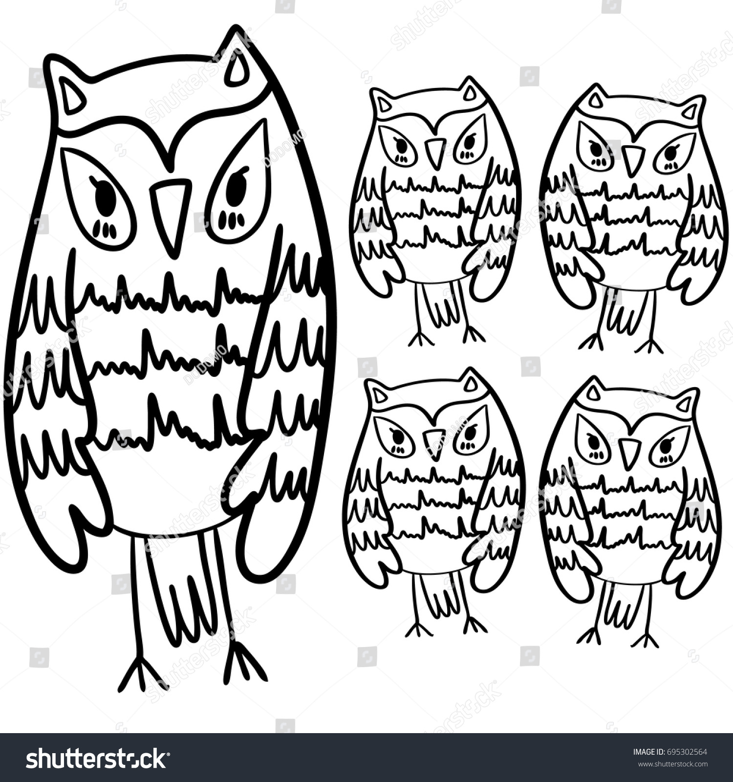 Hand Drawn Black White Illustration Owl Fly Bird Art Coloring Book Cute Sitting