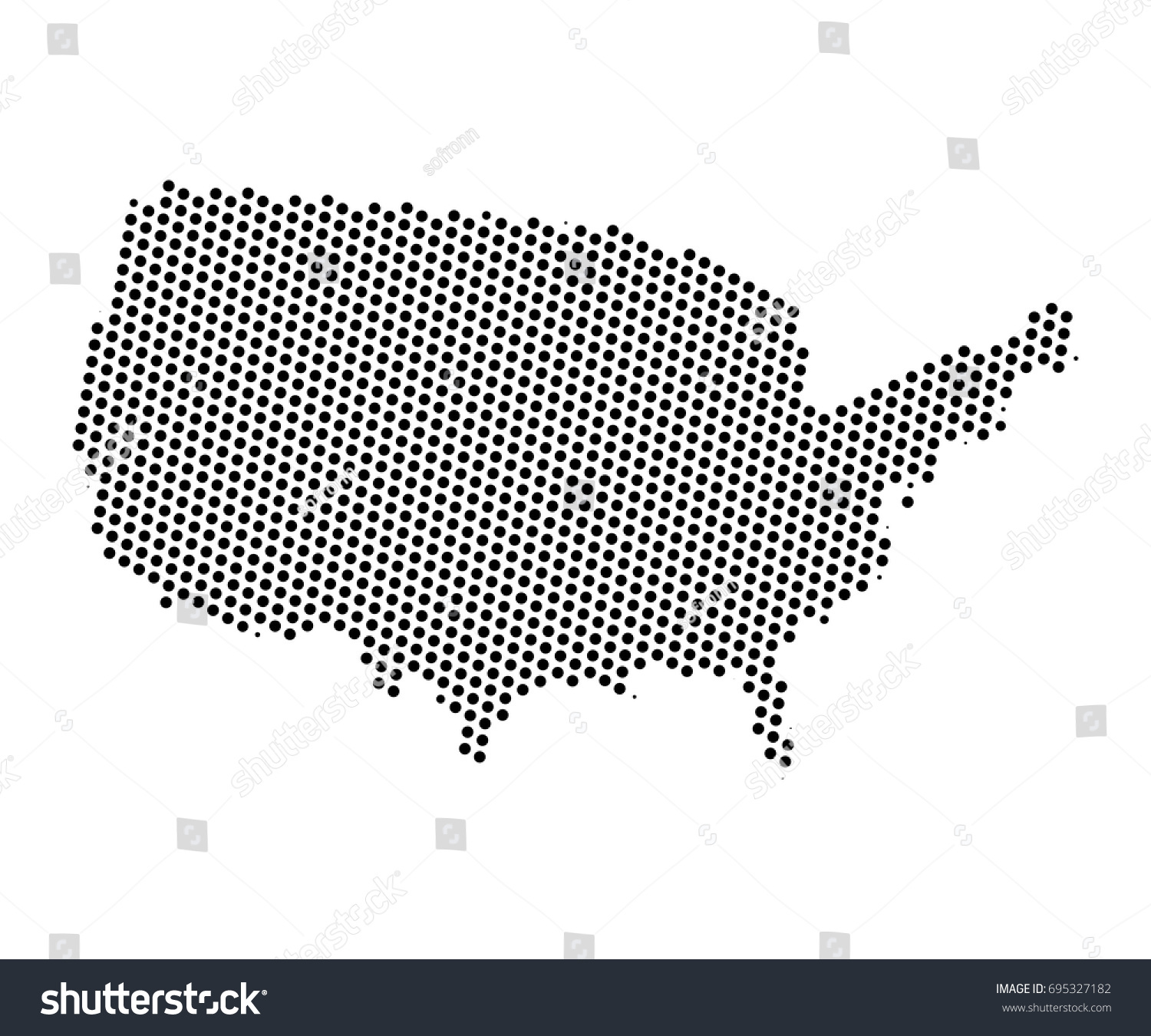 Abstract Map United States America Dots Stock Vector - Us map eps