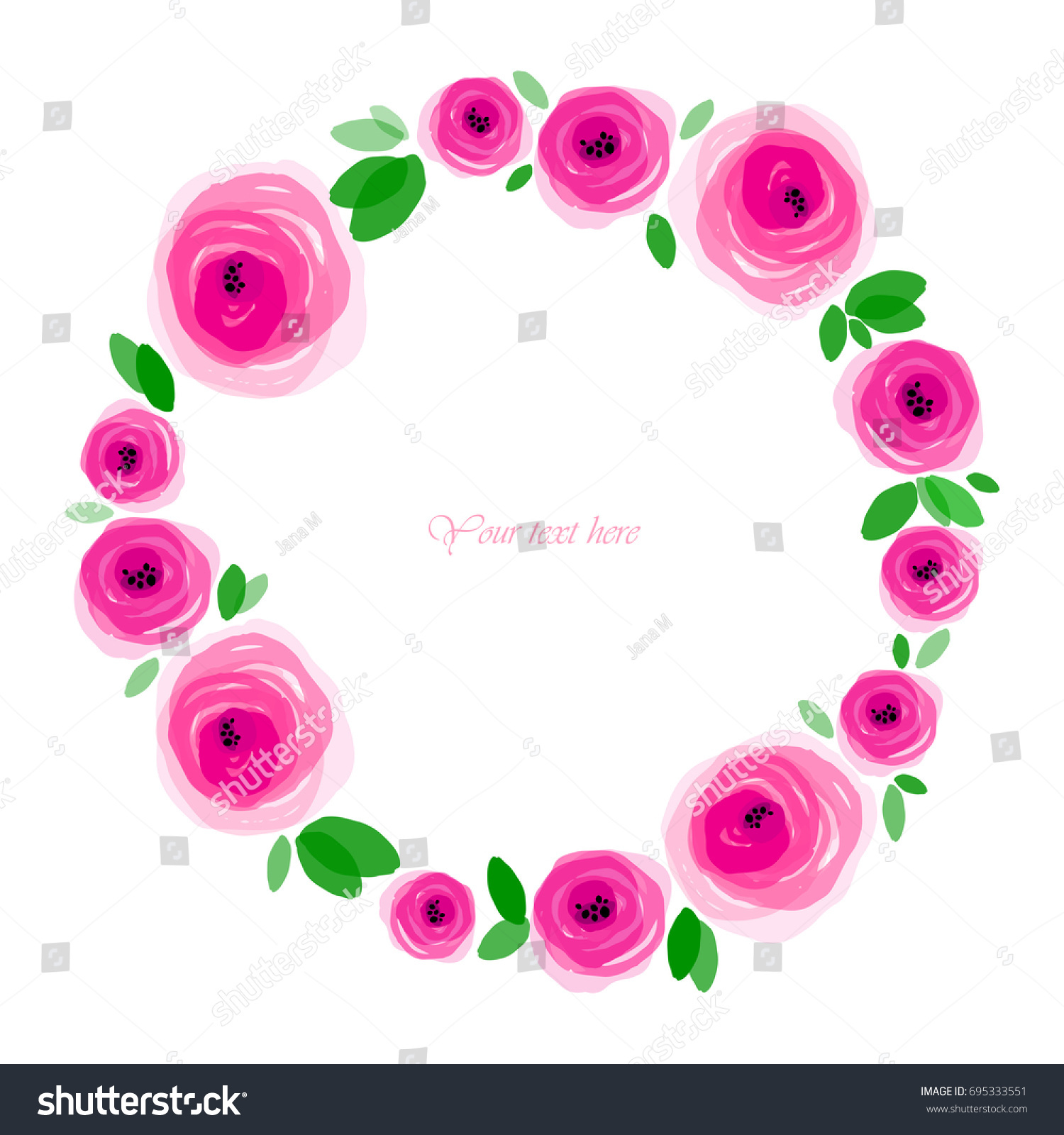 Round Frame Made Decorative Pink Flowers Stock Vector Royalty Free