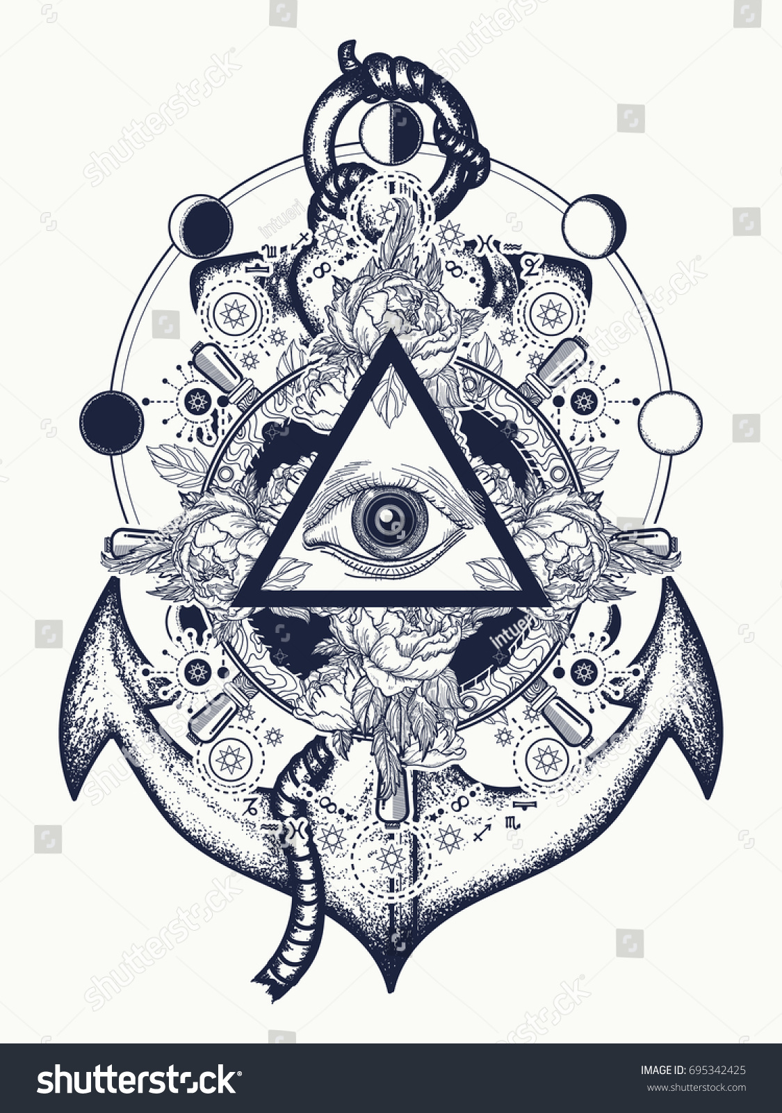All seeing eye tattoo art vector stock vector 695342425 shutterstock all seeing eye tattoo art vector freemason and spiritual symbols alchemy medieval religion biocorpaavc Image collections