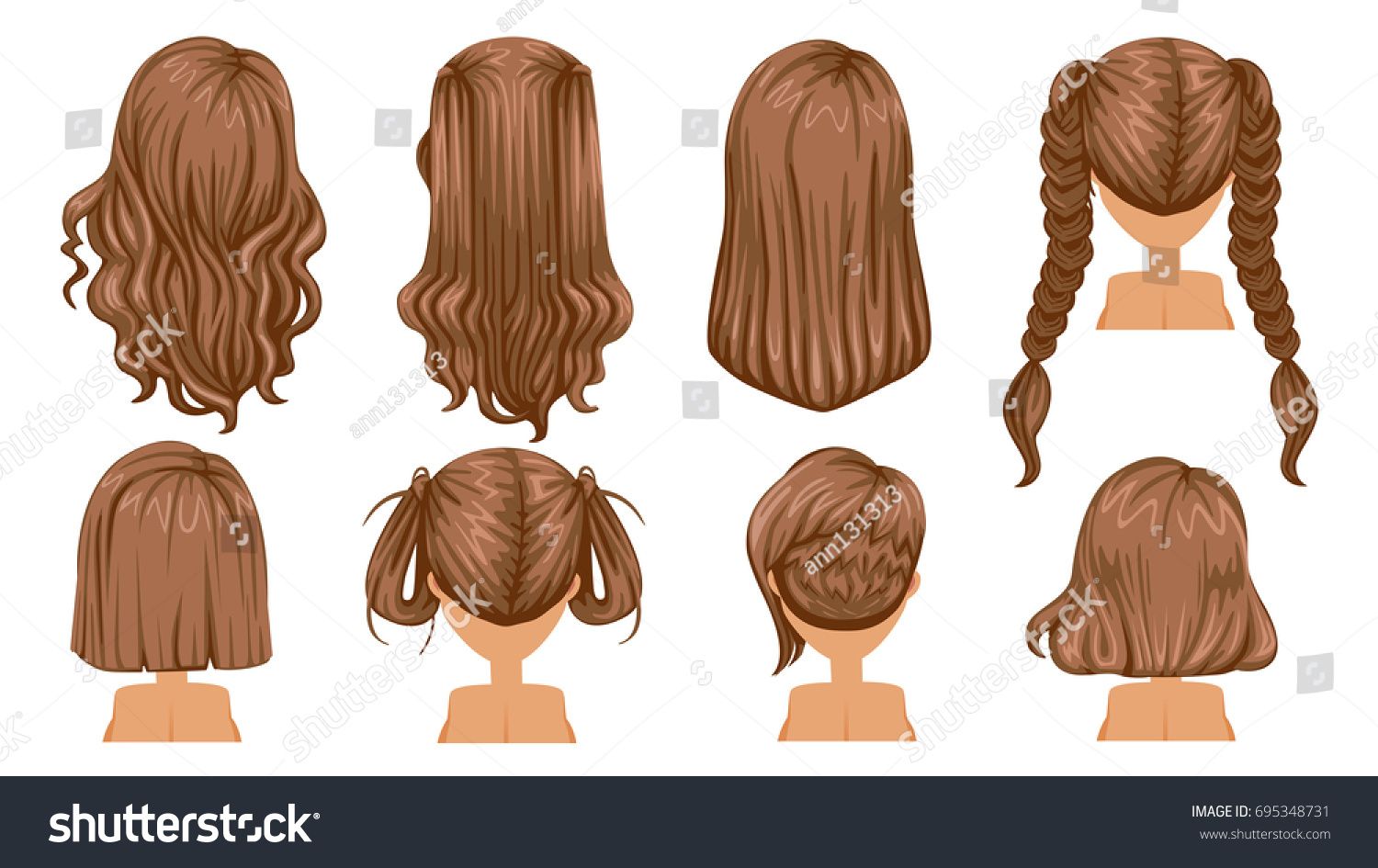 Beautiful Hairstyle Brown Hair Woman Rear Stock Vector Royalty Free