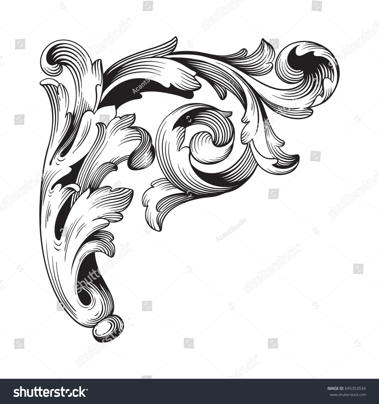 Baroque Vector Vintage Elements Design Decorative Stock