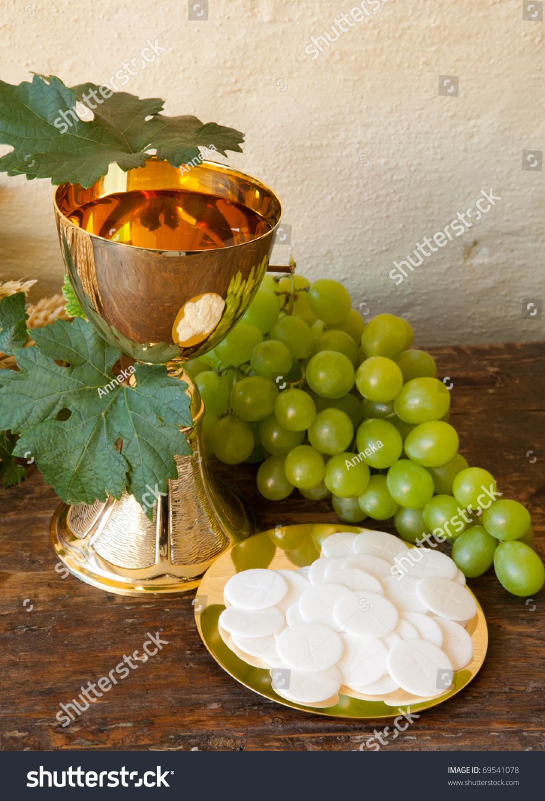 Holy Communion Image Showing Golden Chalice Stock Photo