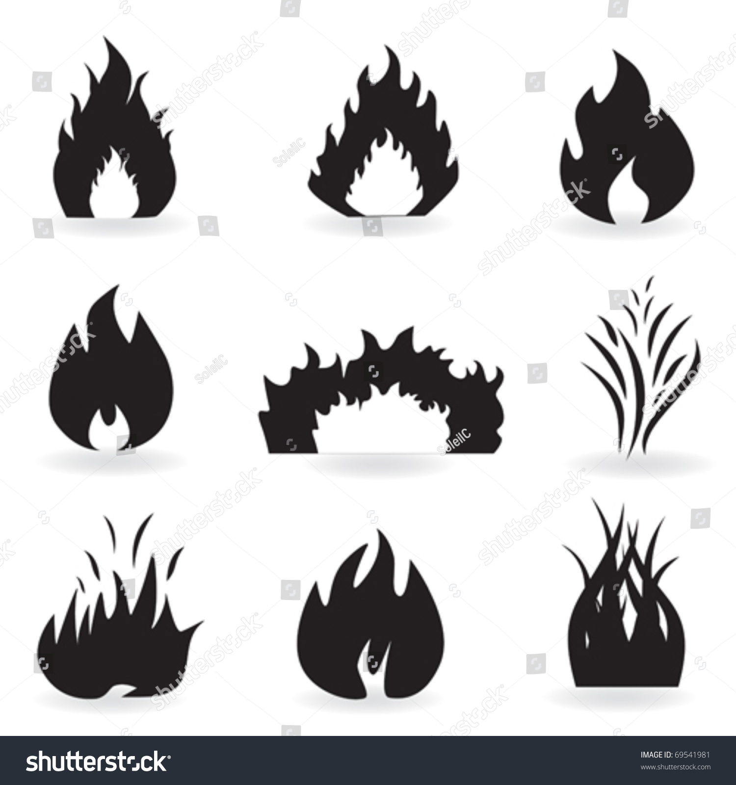 Flame Fire Symbols Icons Stock Vector Royalty Free 69541981