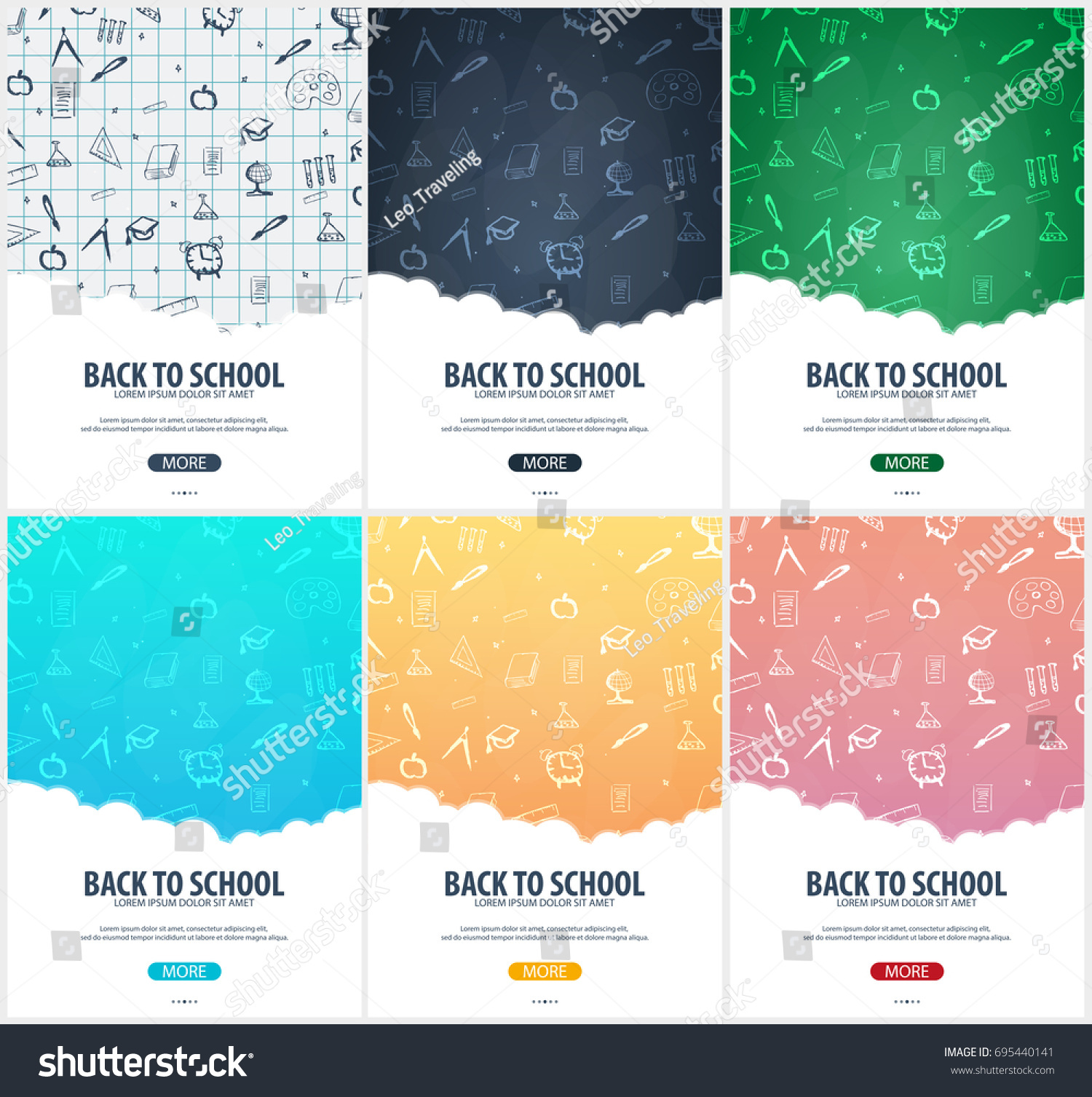 Back School Background Education Banner Vector Stock Vector Royalty Free 695440141