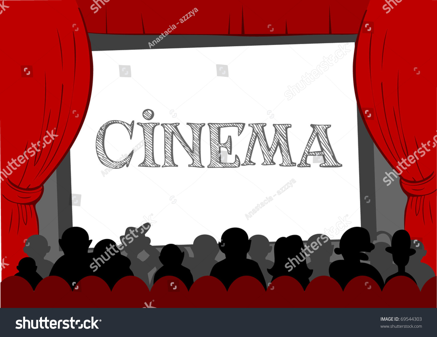people watching movie at cinema hall vector illustration